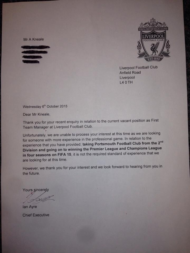 Lettre refus Liverpool